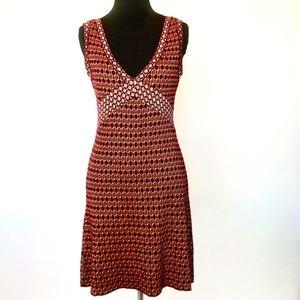 Zara tan and burgundy knit stretch dress